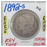 Rare 1892-S 90% Silver Morgan $1 Dollar