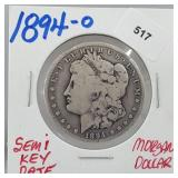 Semi Key Date 1894-O 90% Silver Morgan $1 Dollar