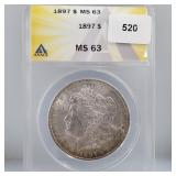 ANACS 1897 MS63 90% Silver Morgan $1 Dollar