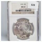 NGC 1923 MS62 90% Silver Peace $1 Dollar