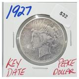 Key Date 1927 90% Silver Peace $1 Dollar