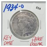 Key Date 1934-D 90% Silver Peace $1 Dollar