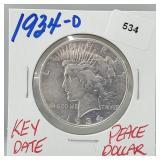 Key Date 1934-D 90% Silver Peace $1 Dollar