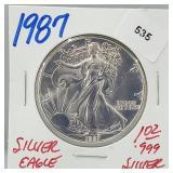 1987 1oz .999 Silver Eagle $1 Dollar