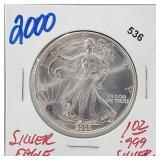 2000 1oz .999 Silver Eagle $1 Dollar