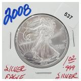 2008 1oz .999 Silver Eagle $1 Dollar