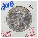2018 1oz .999 Silver Eagle $1 Dollar