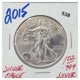 2015 1oz .999 Silver Eagle $1 Dollar