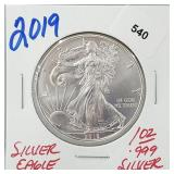 2019 1oz .999 Silver Eagle $1 Dollar