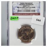 NGC 2007-P MS65 Jefferson $1 Dollar