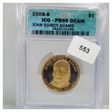 ICG 2008-S PR69 DCAM John Adams $1 Dollar