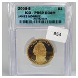 ICG 2008-S PR69 DCAM James Monroe $1 Dollar
