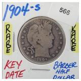Rare Key Date 1904-S Barber Half $1 Dollar