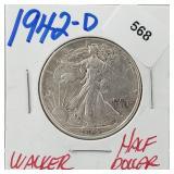 1942-D 90% Silver Walker Half $1 Dollar