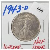 1943-D 90% Silver Walker Half $1 Dollar