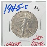 1945-D 90% Silver Walker Half $1 Dollar