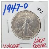 1947-D 90% Silver Walker Half $1 Dollar