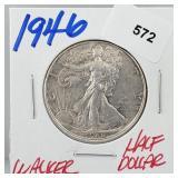 1946 90% Silver Walker Half $1 Dollar
