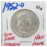 1952-D 90% Silver Franklin Half $1 Dollar