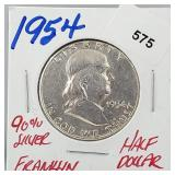 1954 90% Silver Franklin Half $1 Dollar
