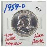 1959-D 90% Silver Franklin Half $1 Dollar