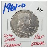 1961-D 90% Silver Franklin Half $1 Dollar