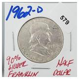 1962-D 90% Silver Franklin Half $1 Dollar