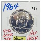 1964 90% Silver Proof JFK Half $1 Dollar
