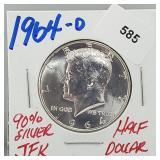 1964-D 90% Silver JFK Half $1 Dollar