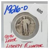 1926-D 90% Silver Liberty Quarter 25 Cents