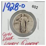 1928-D 90% Silver Liberty Quarter 25 Cents