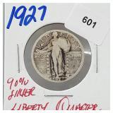 1927 90% Silver Liberty Quarter 25 Cents