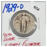 1929-D 90% Silver Liberty Quarter 25 Cents