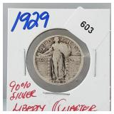1929 90% Silver Liberty Quarter 25 Cents