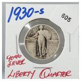 1930-S 90% Silver Liberty Quarter 25 Cents