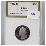PCI 1983-S PR68 Deep Cameo Quarter 25 Cents