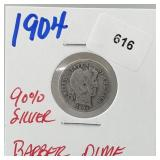 1904 90% Silver Barber Dime 10 Cents