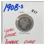 1908-S 90% Silver Barber Dime 10 Cents