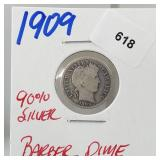 1909 90% Silver Barber Dime 10 Cents