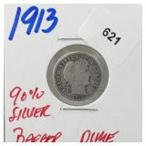 1913 90% Silver Barber Dime 10 Cents