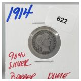 1914 90% Silver Barber Dime 10 Cents