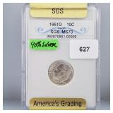 SGS 1951-D MS70 Roos Dime 10 Cents