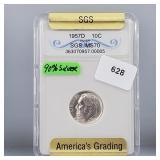 SGS 1957-D MS70 Roos Dime 10 Cents