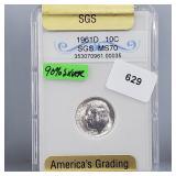 SGS 1961-D MS70 Roos Dime 10 Cents