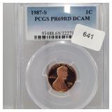 PCGS 1987-S PR69RD DCAM Linc Penny One Cent