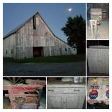Dairy Barn, Seed Cleaner & Bag, Antique Furniture & Barrel