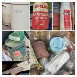 No. 13 Ball Jar, Bottles, Crocks, Farm Hats, Sinclair Motor Oil Can, WFE Lebanon Indiana Thermos