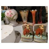 Hand painted Boxer Dog Book Ends, Lamp, Hoosier Glass Vase