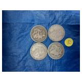 Lot of 4 US Morgan Silver Dollars