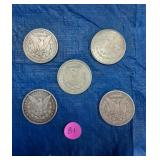 Lot of 5 US Silver Dollars